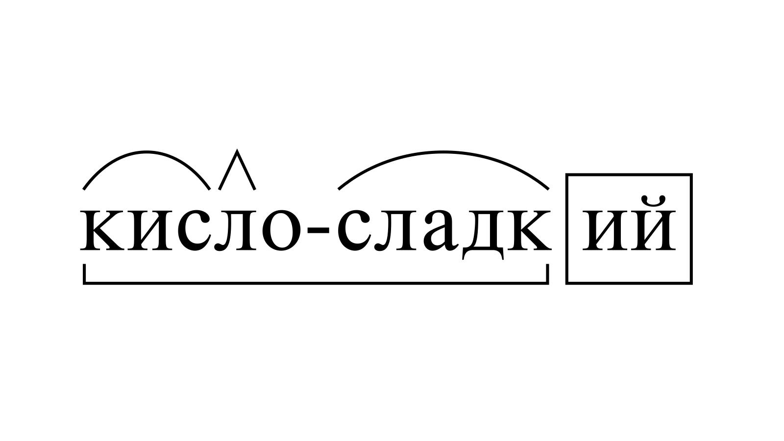 Разбор слова «кисло-сладкий» по составу