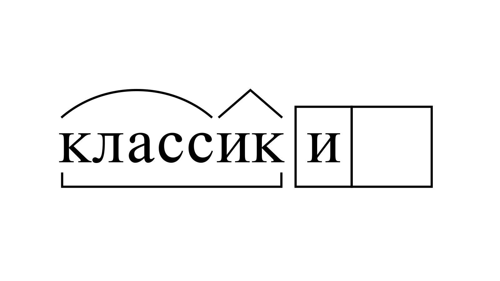 Разбор слова «классики» по составу