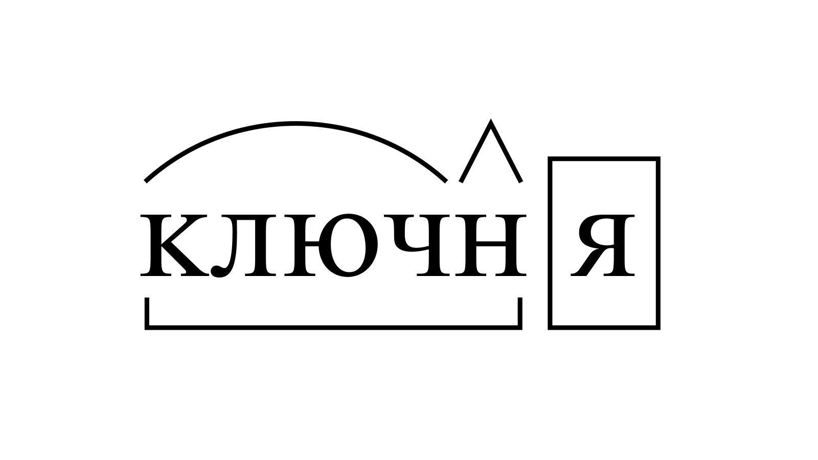 Разбор слова «ключня» по составу