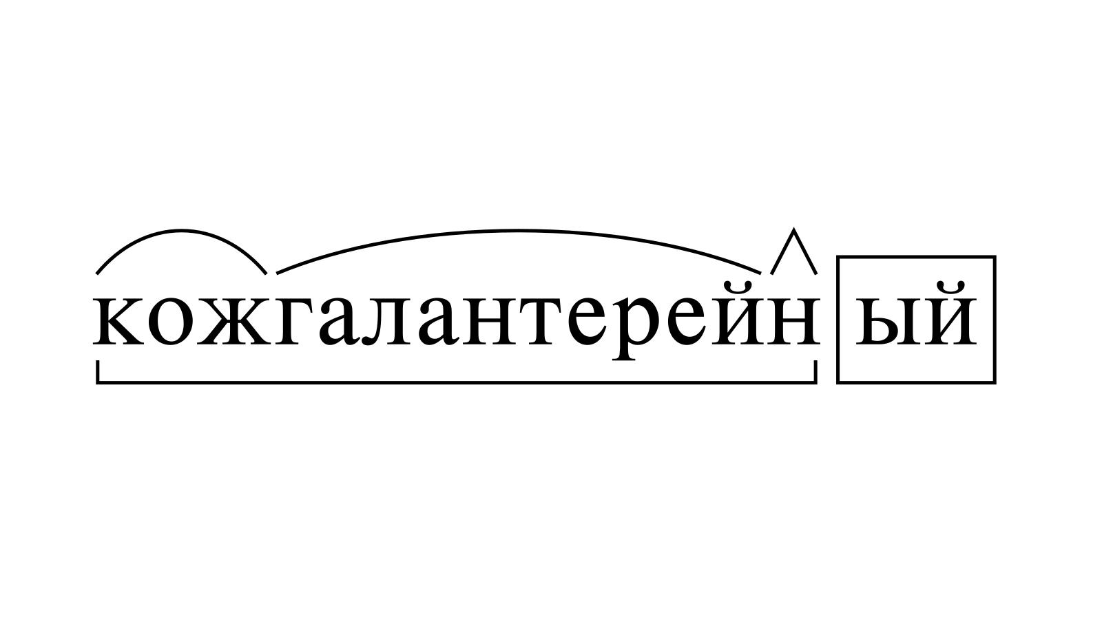 Разбор слова «кожгалантерейный» по составу