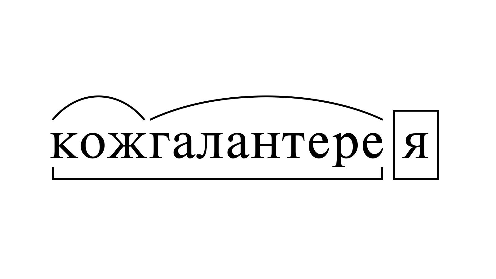 Разбор слова «кожгалантерея» по составу
