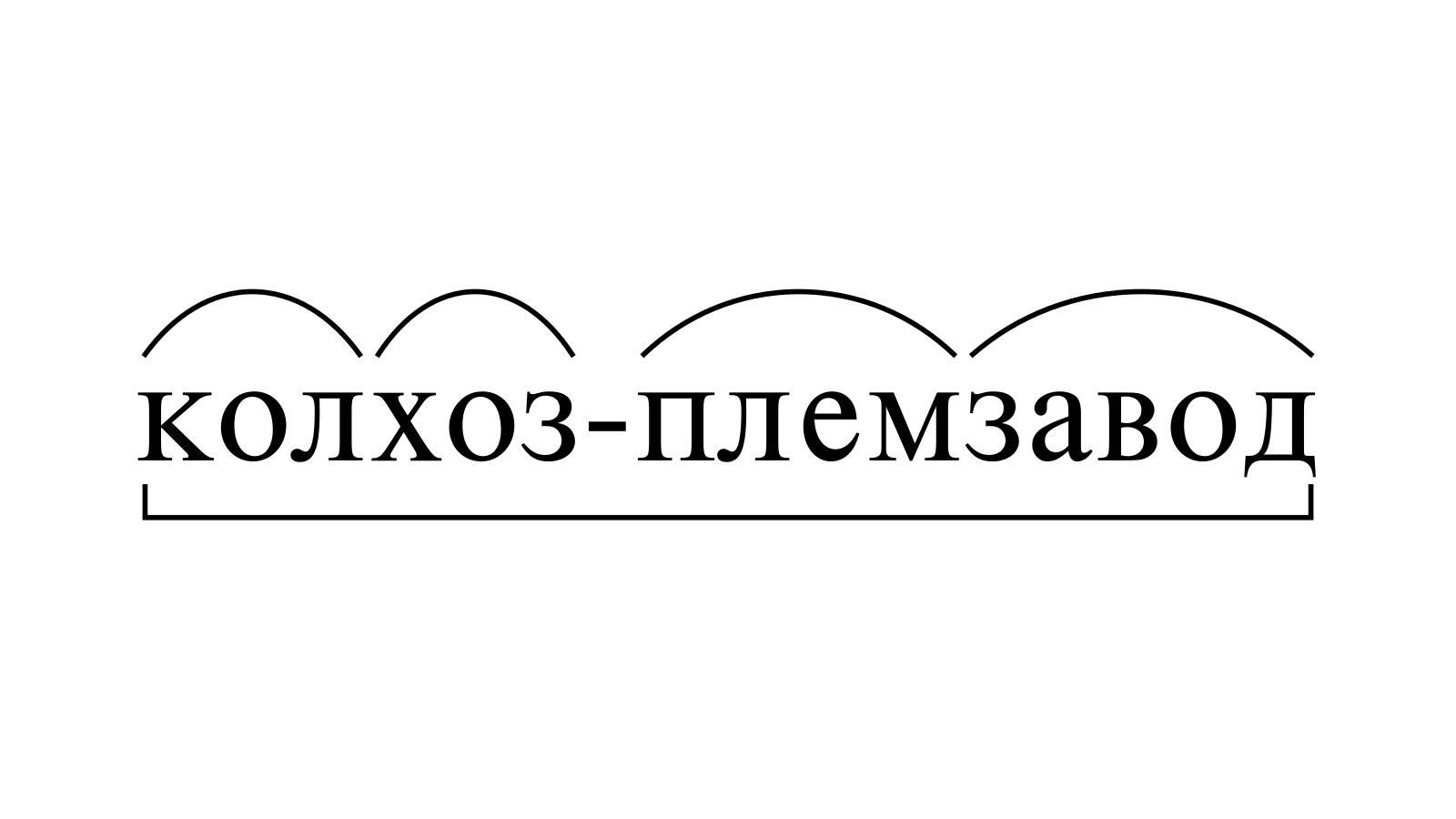 Разбор слова «колхоз-племзавод» по составу
