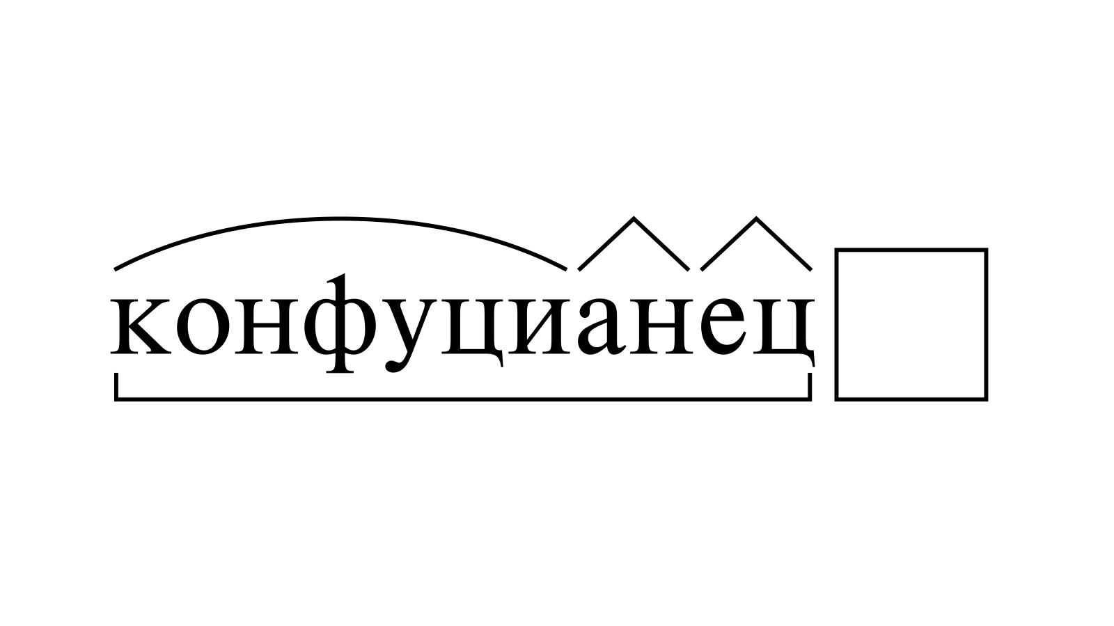 Разбор слова «конфуцианец» по составу