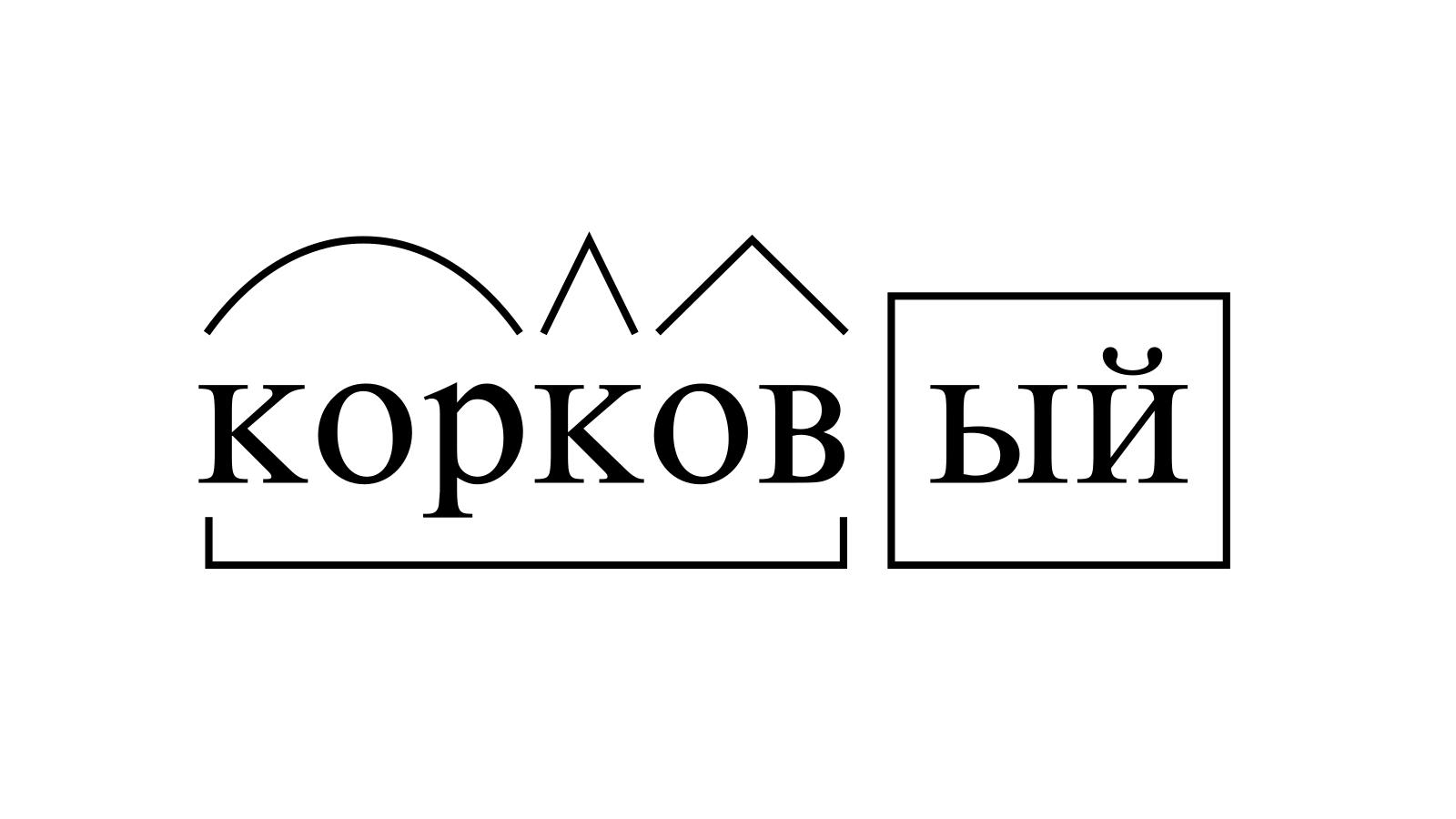 Разбор слова «корковый» по составу