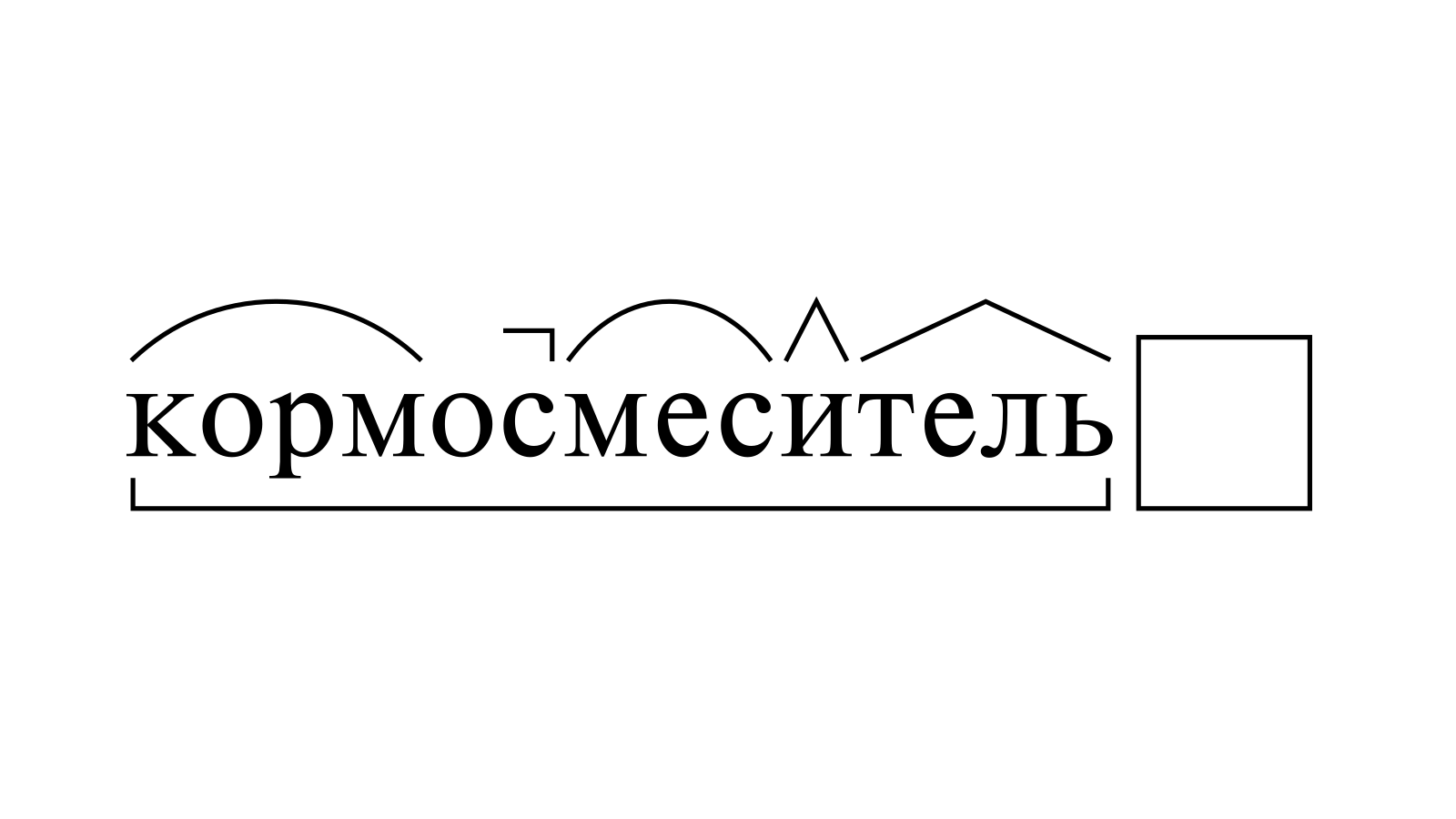 Разбор слова «кормосмеситель» по составу