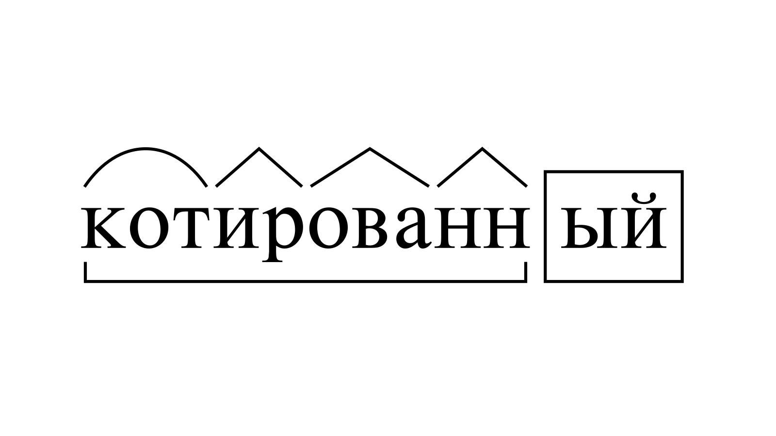 Разбор слова «котированный» по составу