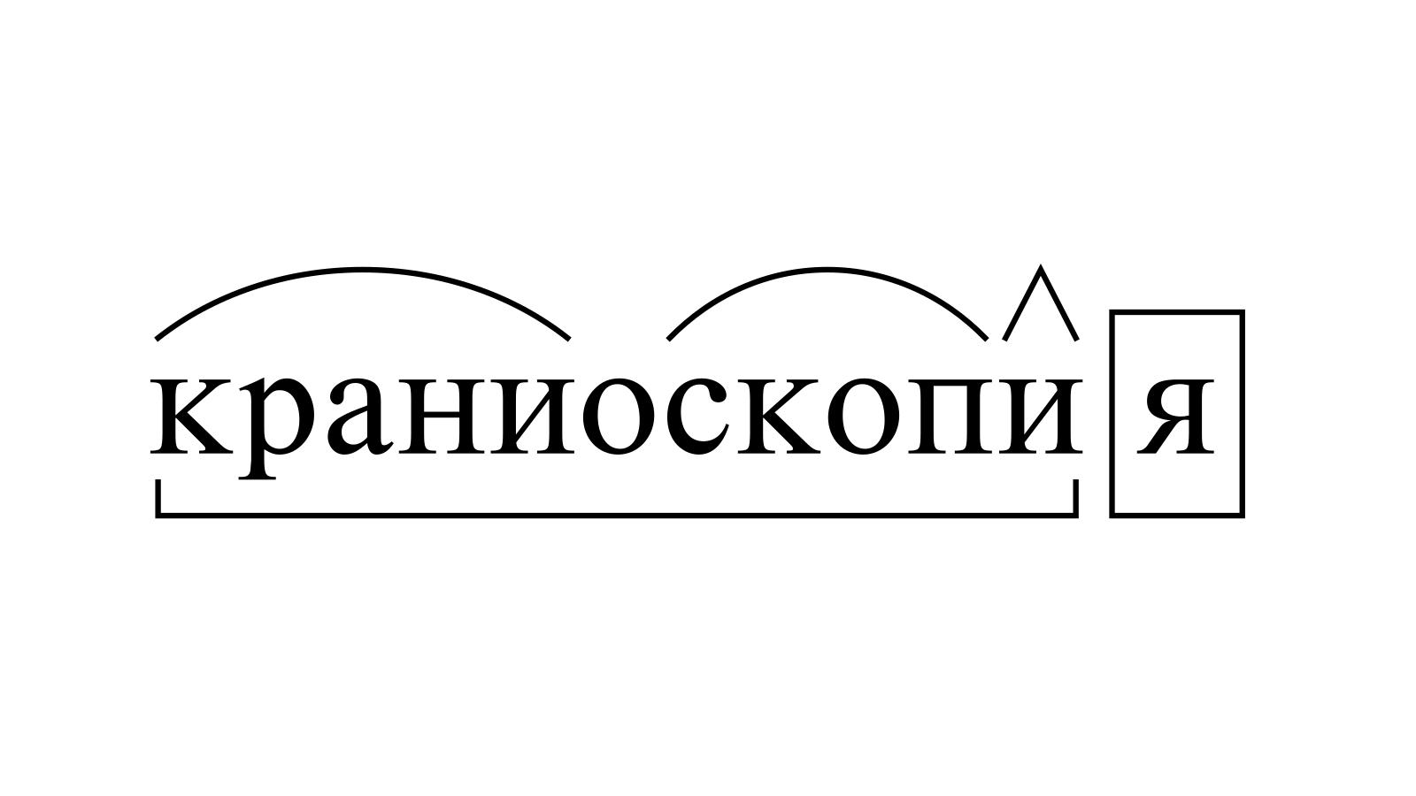Разбор слова «краниоскопия» по составу