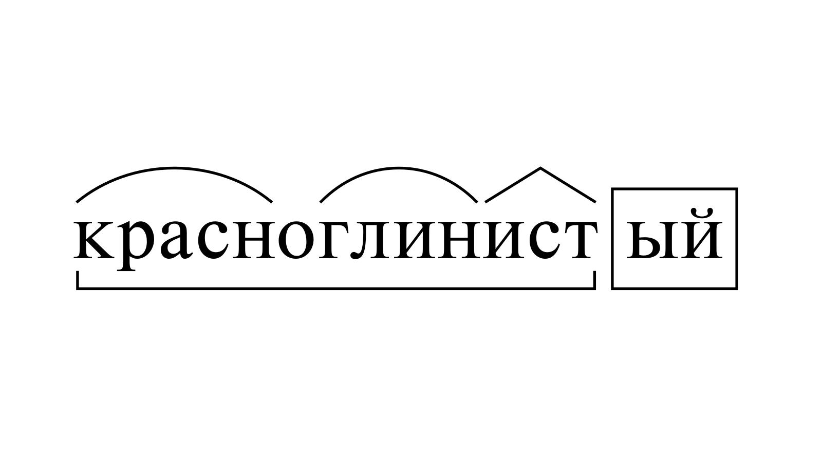 Разбор слова «красноглинистый» по составу
