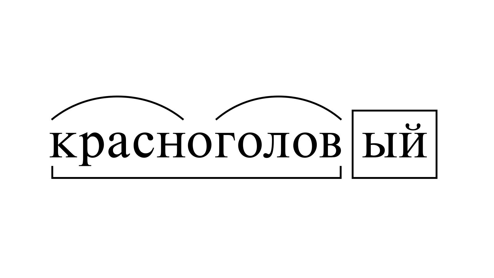 Разбор слова «красноголовый» по составу
