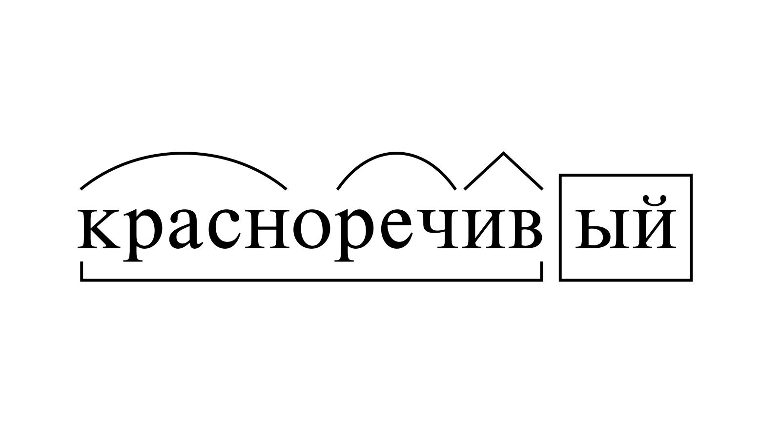 Разбор слова «красноречивый» по составу