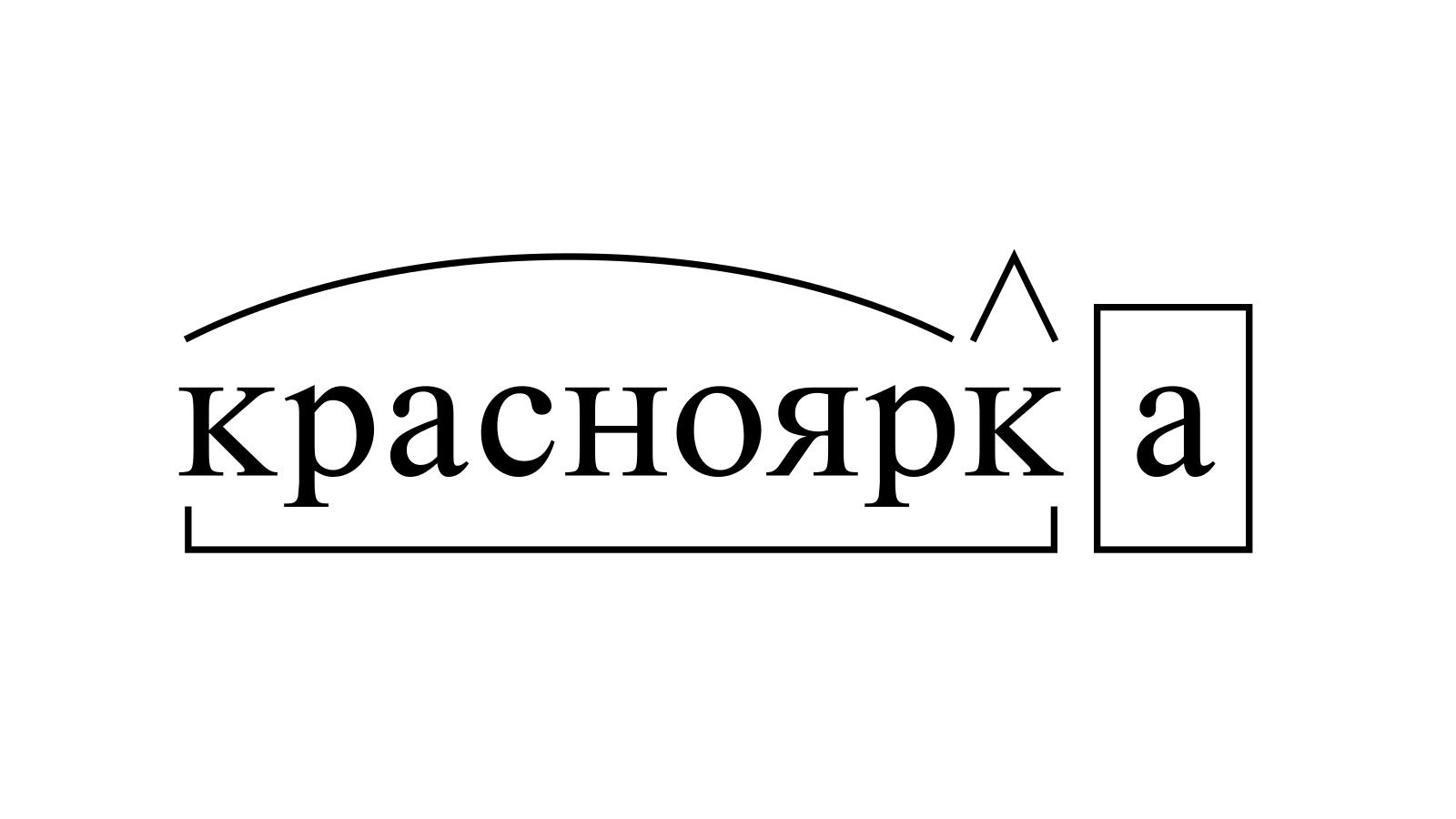 Разбор слова «красноярка» по составу