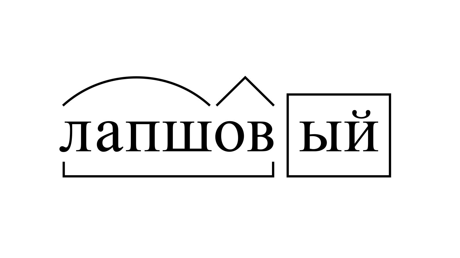 Разбор слова «лапшовый» по составу