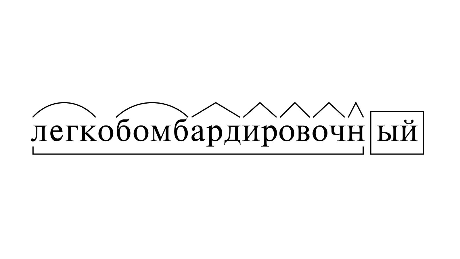 Разбор слова «легкобомбардировочный» по составу