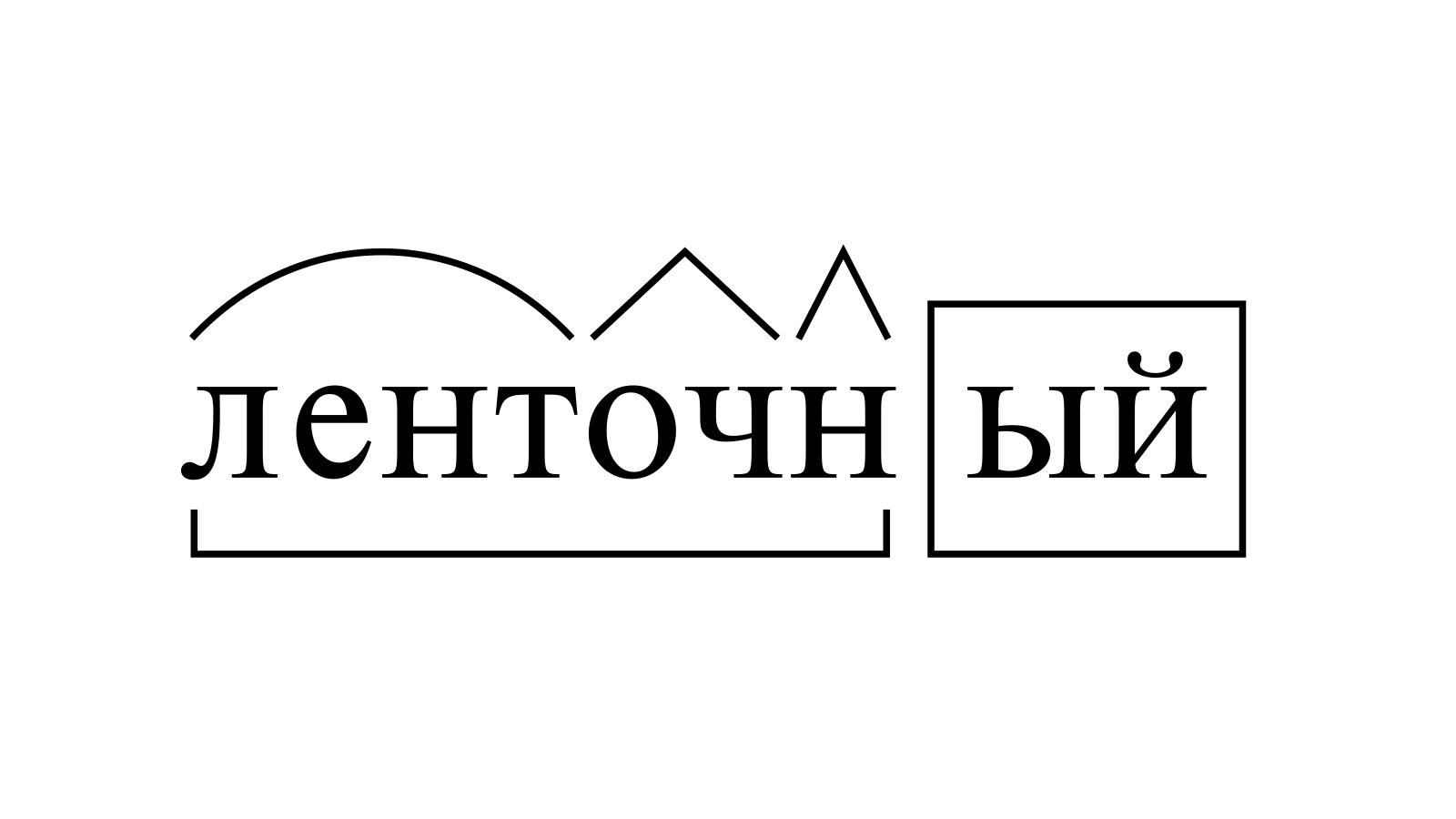 Разбор слова «ленточный» по составу
