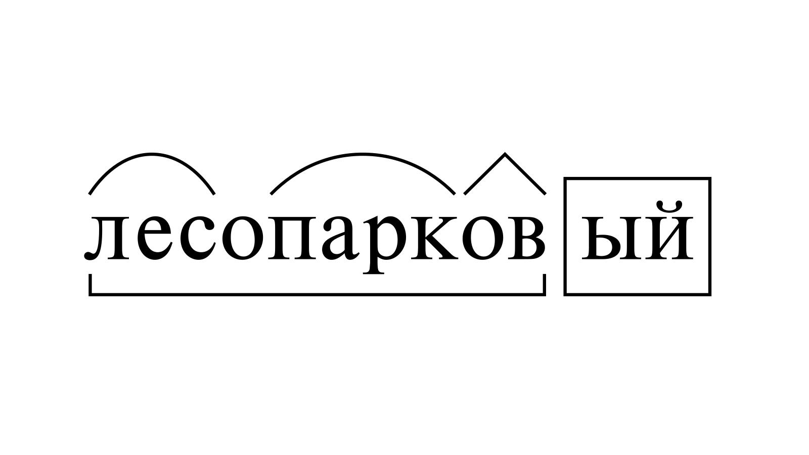 Разбор слова «лесопарковый» по составу
