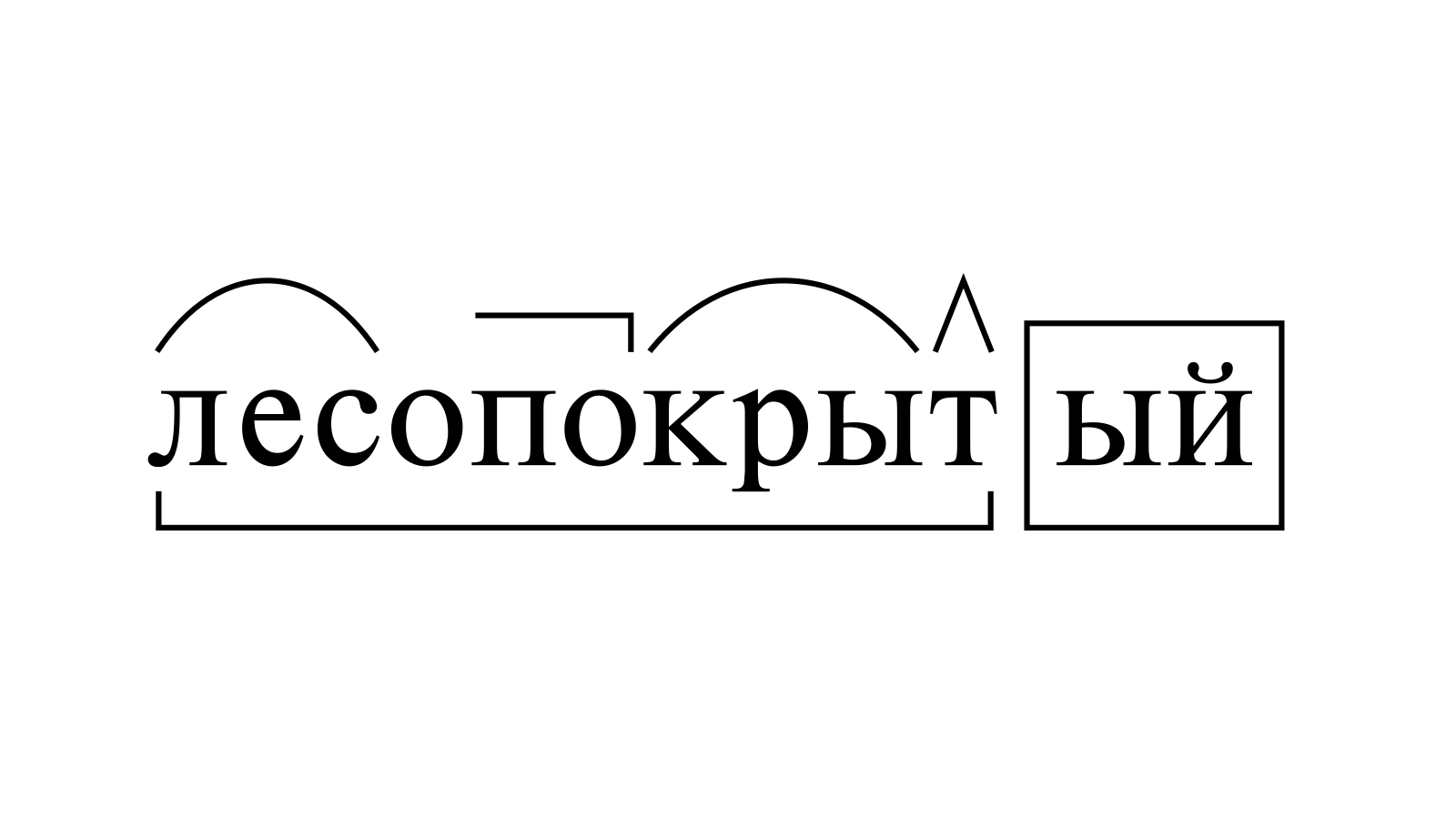 Разбор слова «лесопокрытый» по составу