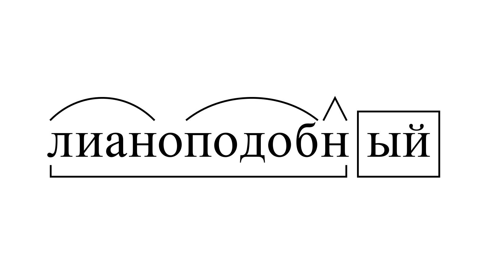 Разбор слова «лианоподобный» по составу