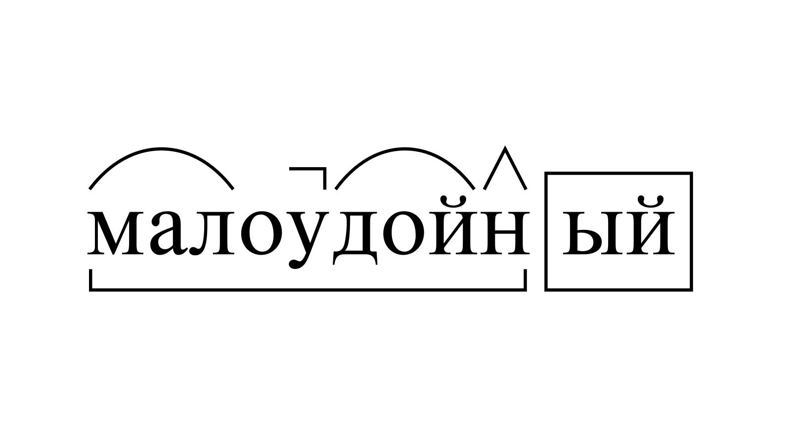 Разбор слова «малоудойный» по составу