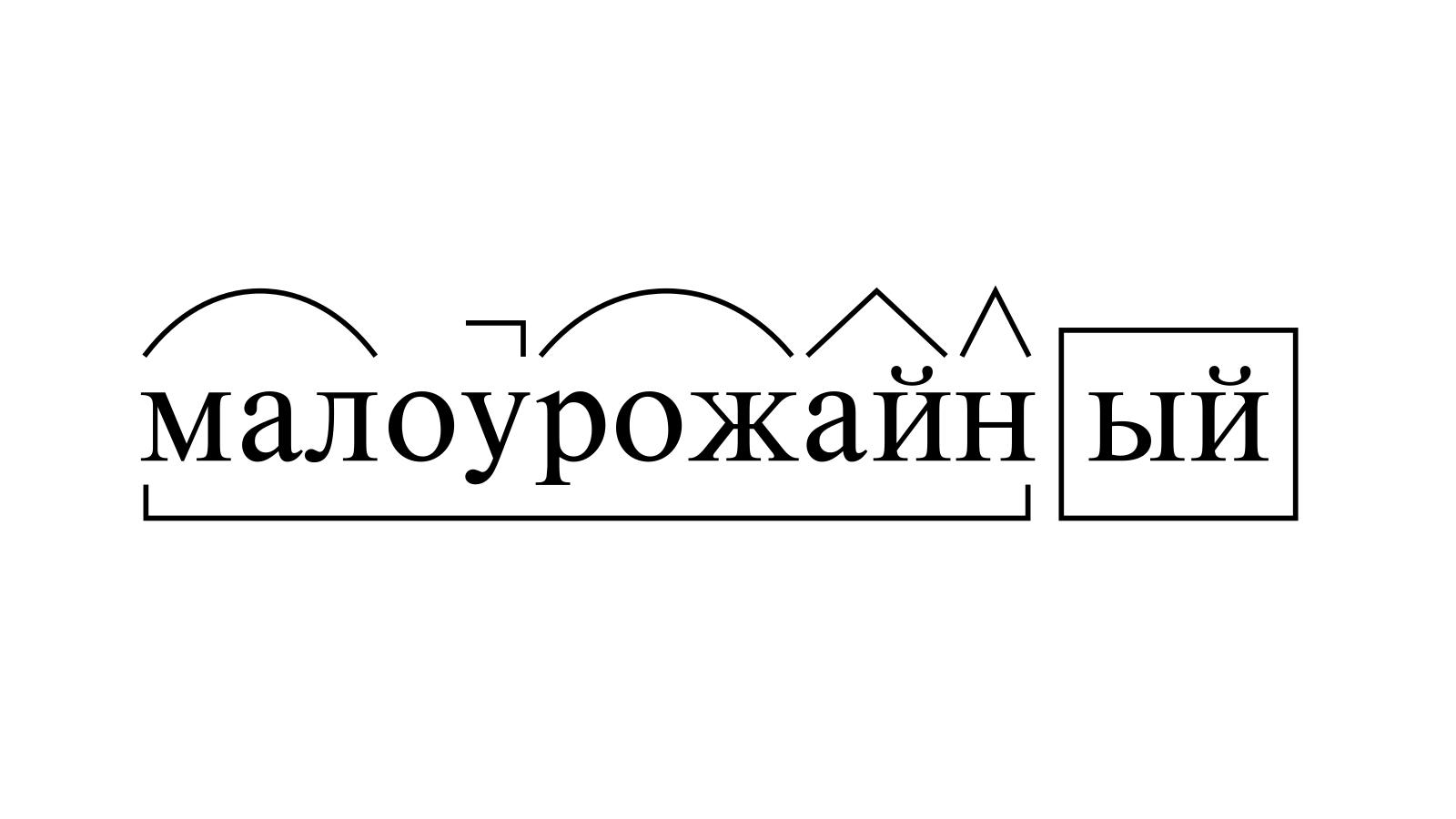 Разбор слова «малоурожайный» по составу