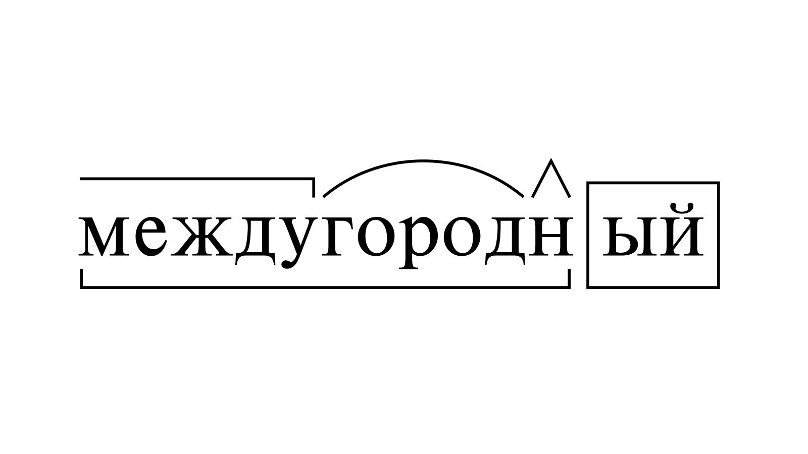 Разбор слова «междугородный» по составу