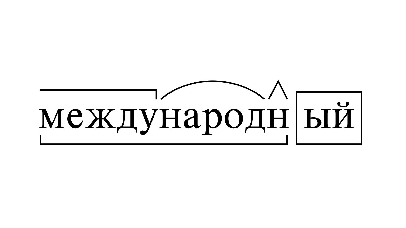 Разбор слова «международный» по составу