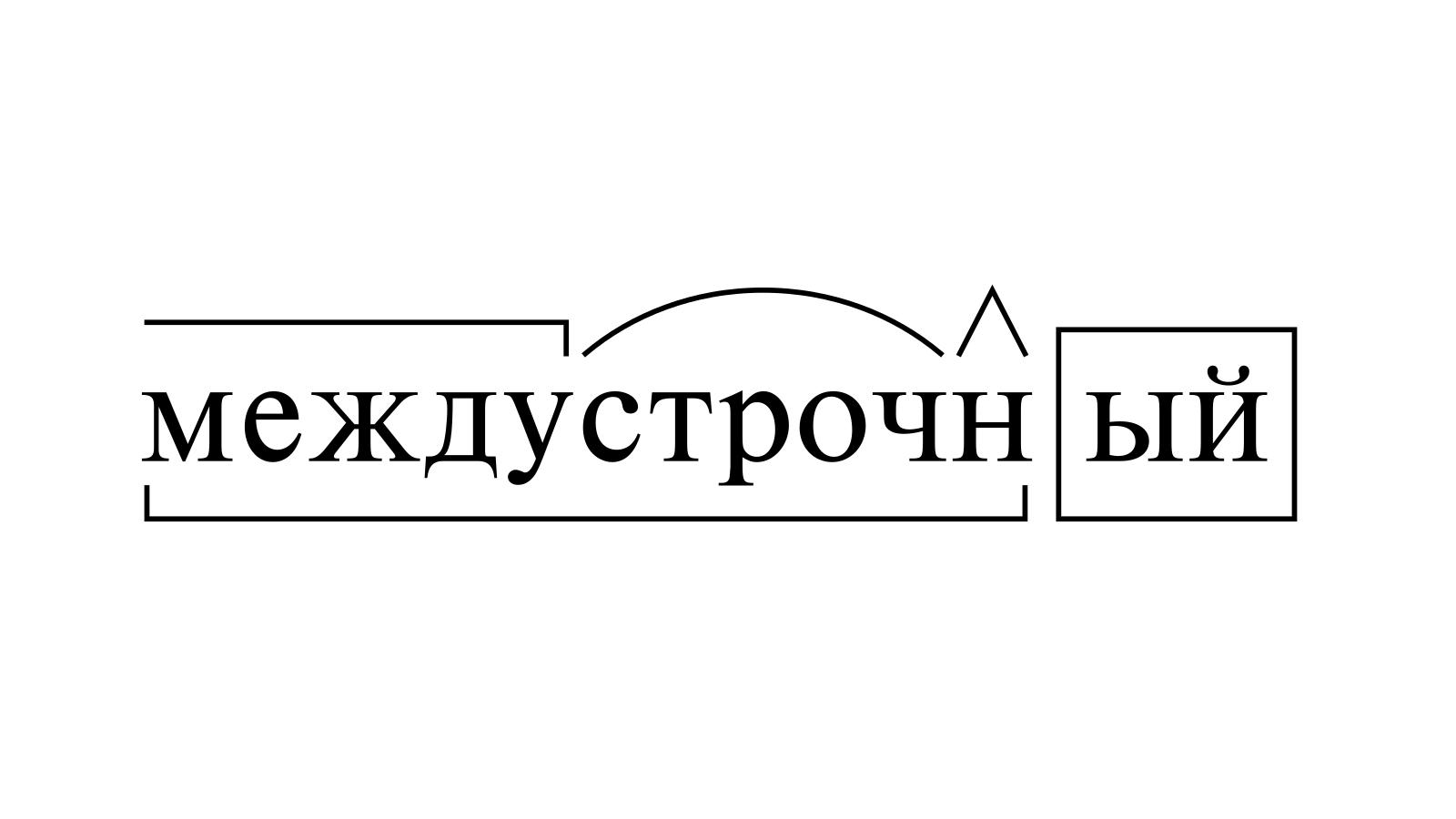 Разбор слова «междустрочный» по составу