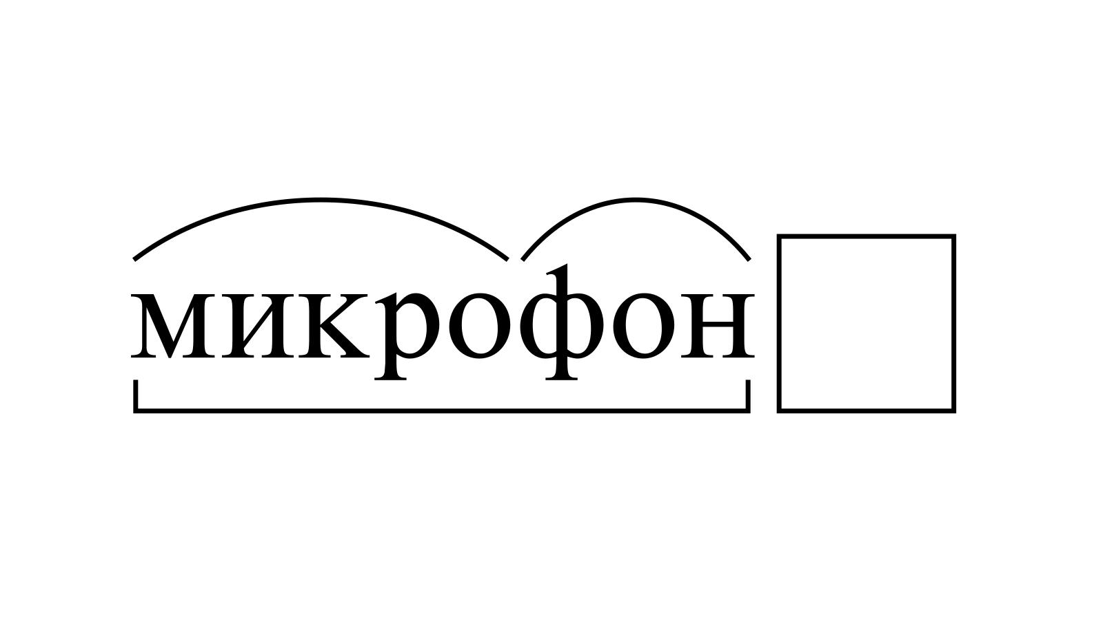 Разбор слова «микрофон» по составу