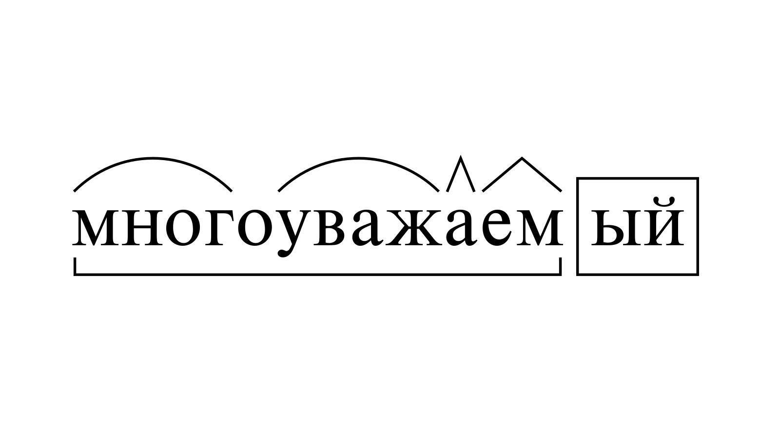 Разбор слова «многоуважаемый» по составу