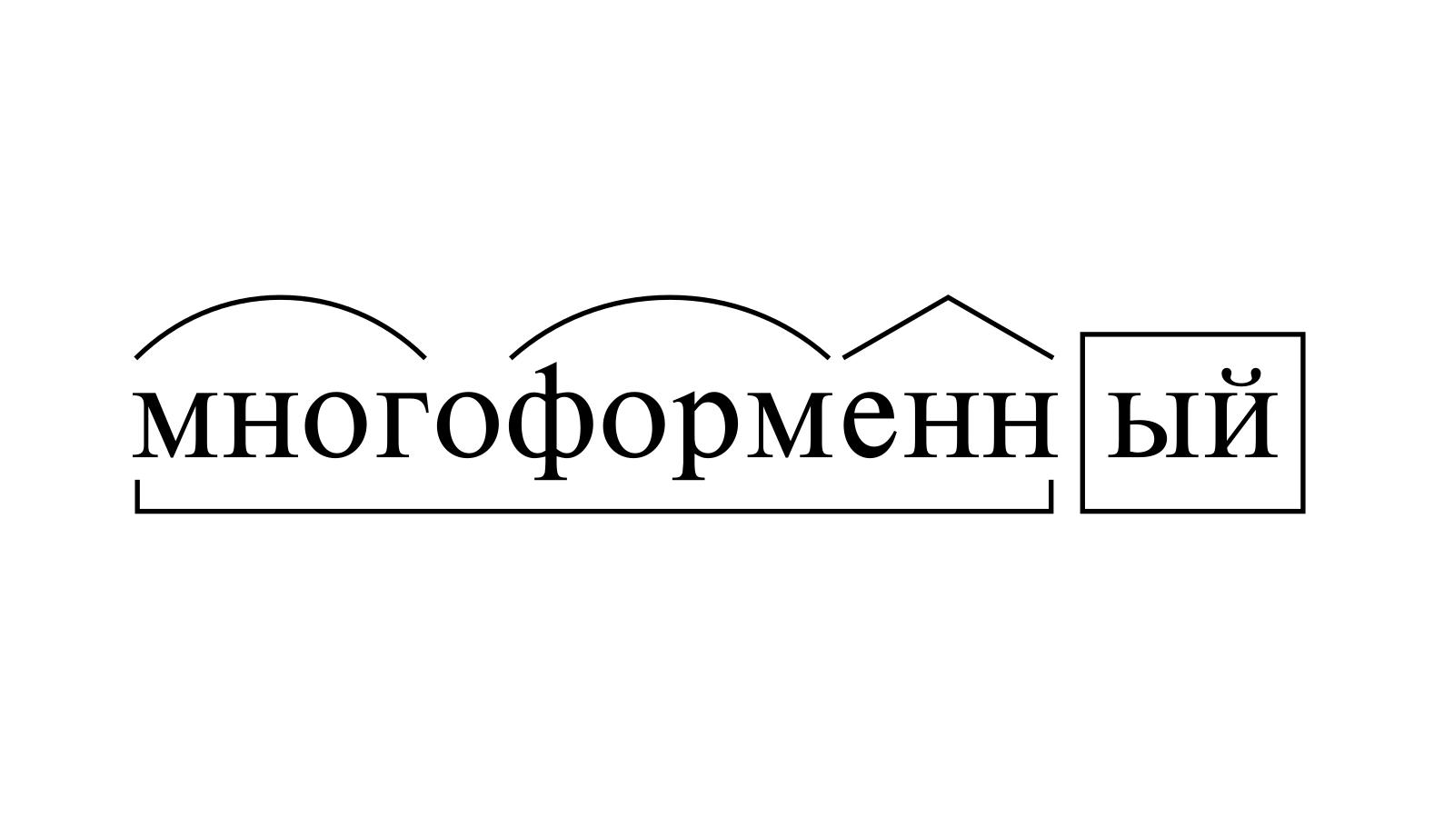 Разбор слова «многоформенный» по составу