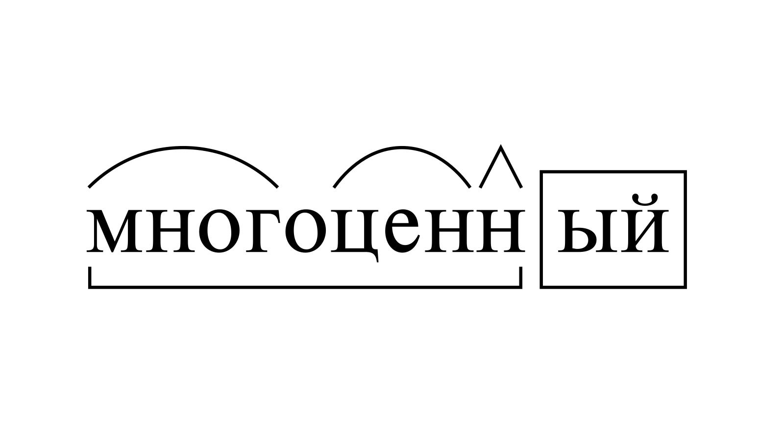 Разбор слова «многоценный» по составу