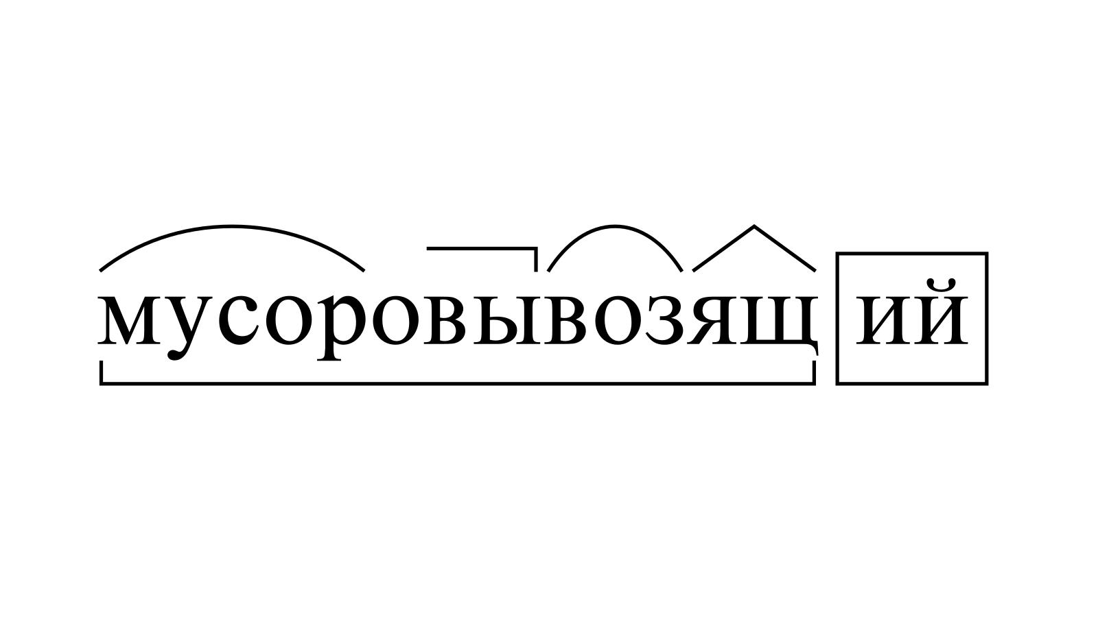 Разбор слова «мусоровывозящий» по составу