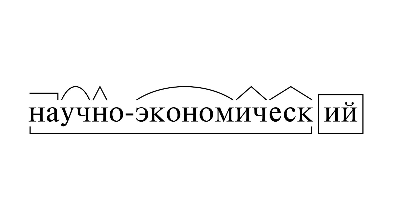 Разбор слова «научно-экономический» по составу