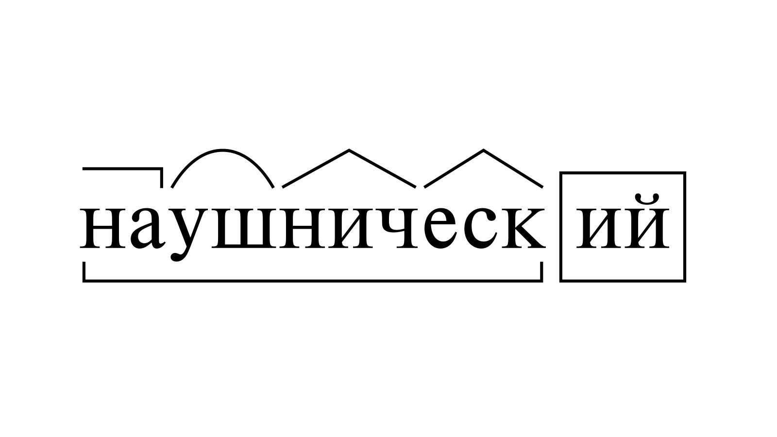 Разбор слова «наушнический» по составу