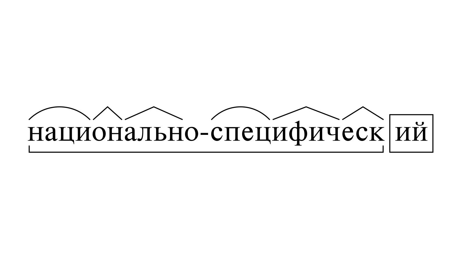 Разбор слова «национально-специфический» по составу