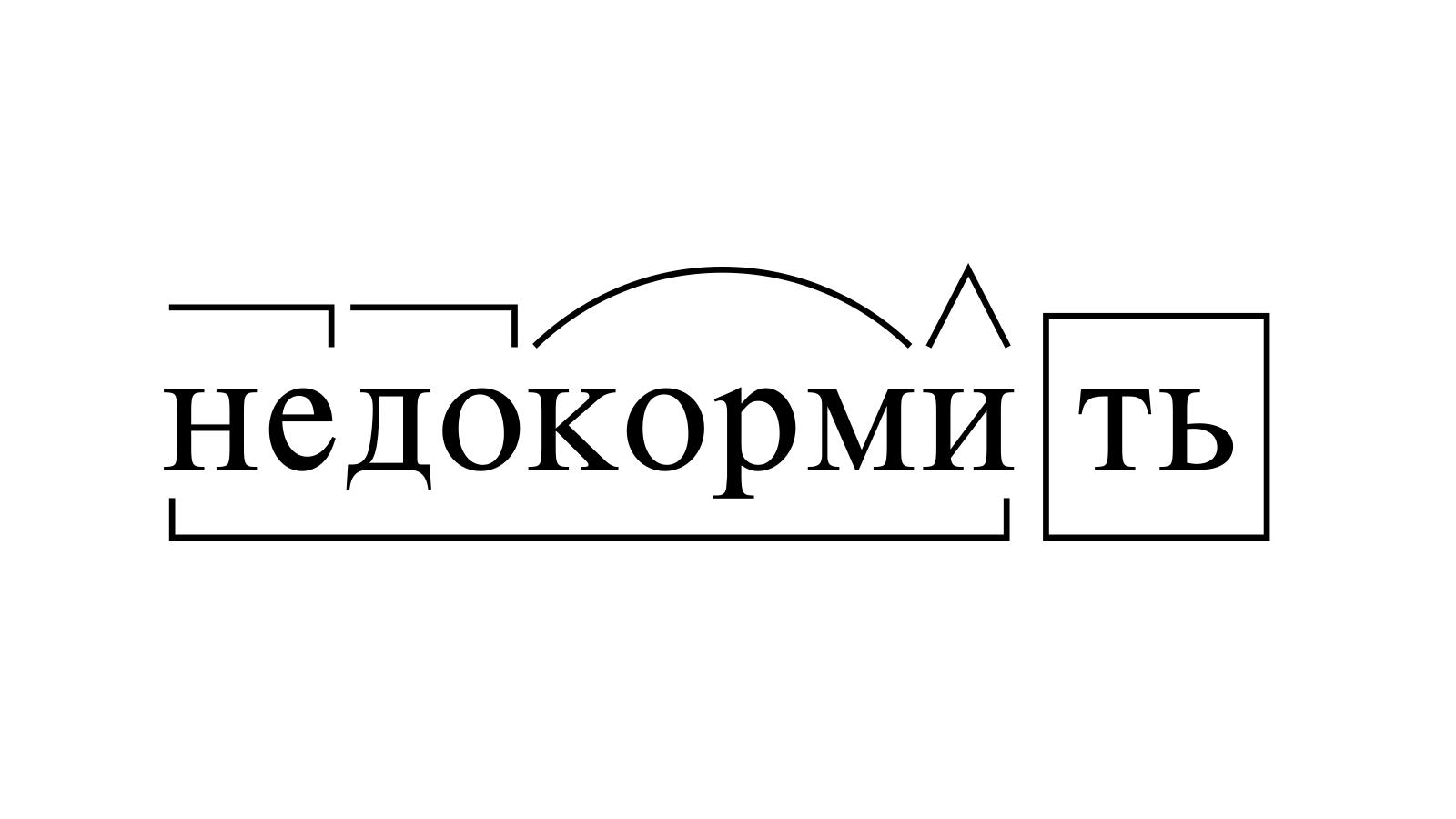 Разбор слова «недокормить» по составу