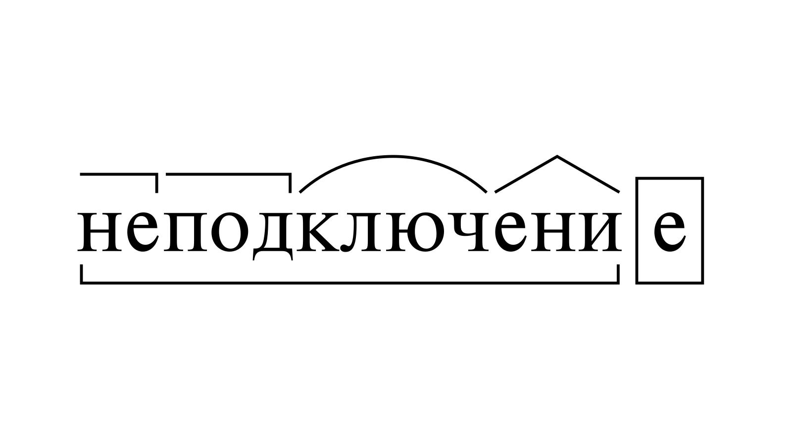 Разбор слова «неподключение» по составу