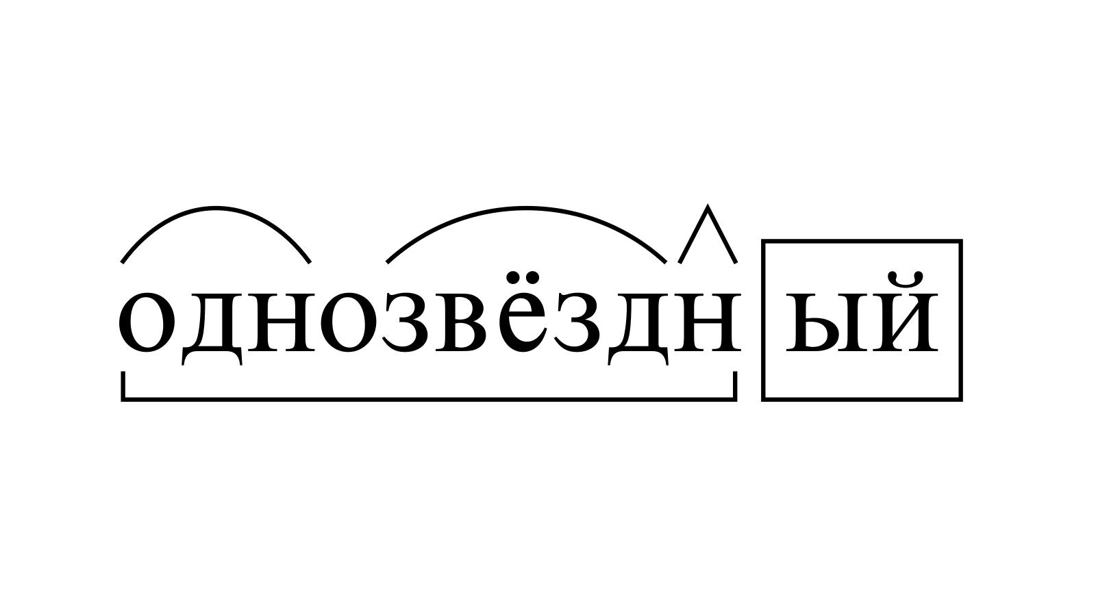 Разбор слова «однозвёздный» по составу
