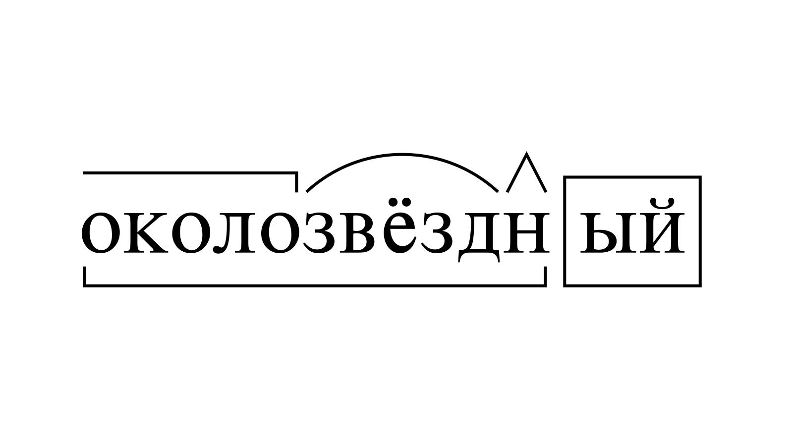 Разбор слова «околозвёздный» по составу