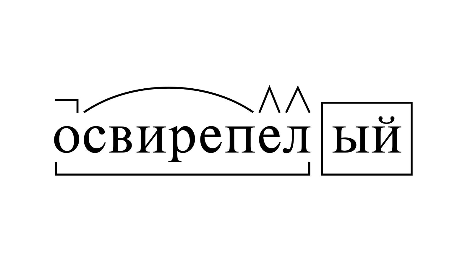 Разбор слова «освирепелый» по составу