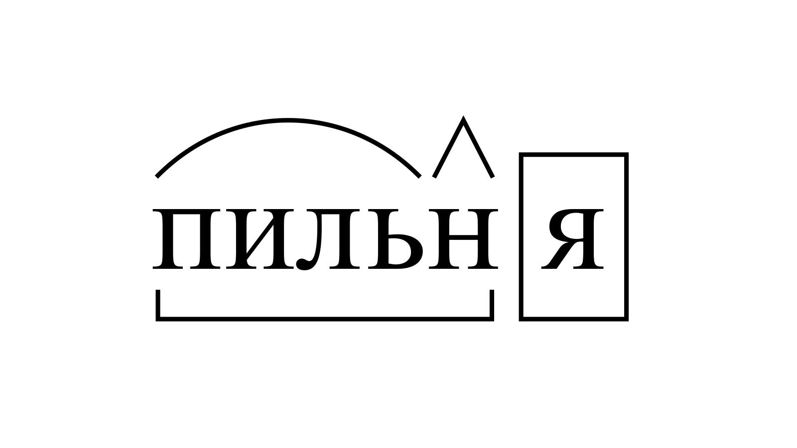 Разбор слова «пильня» по составу