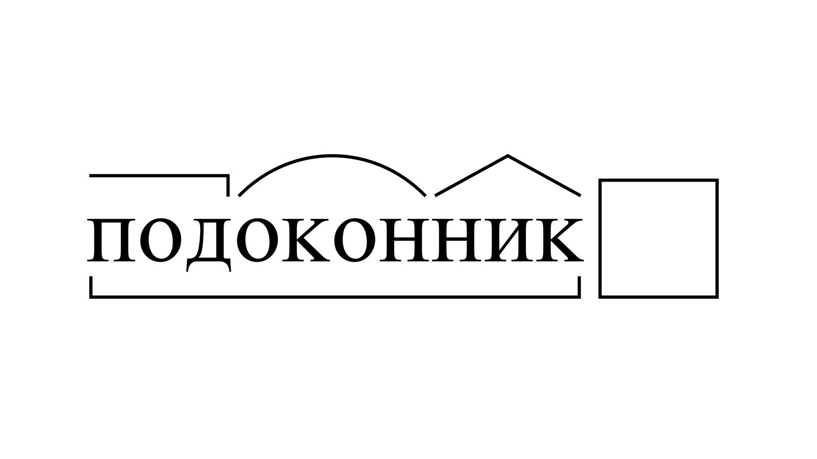 Разбор слова «подоконник» по составу