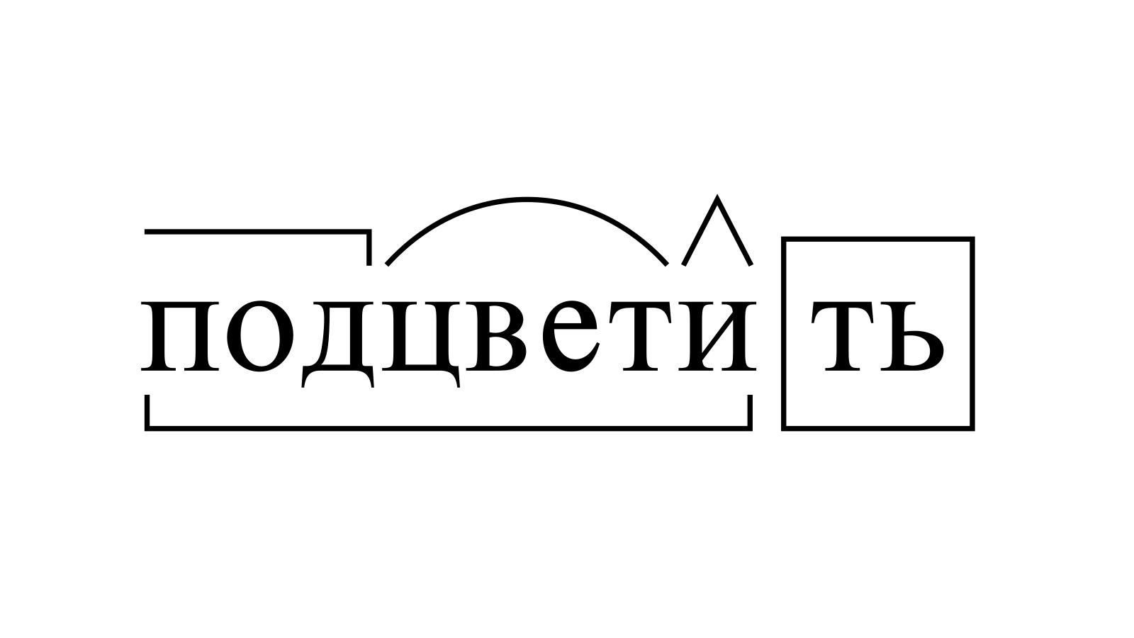 Разбор слова «подцветить» по составу