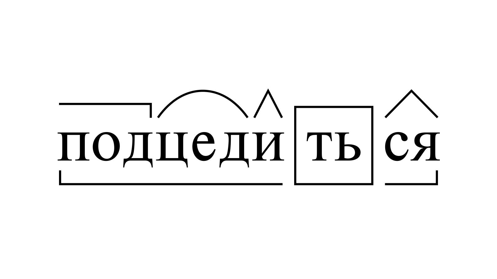 Разбор слова «подцедиться» по составу