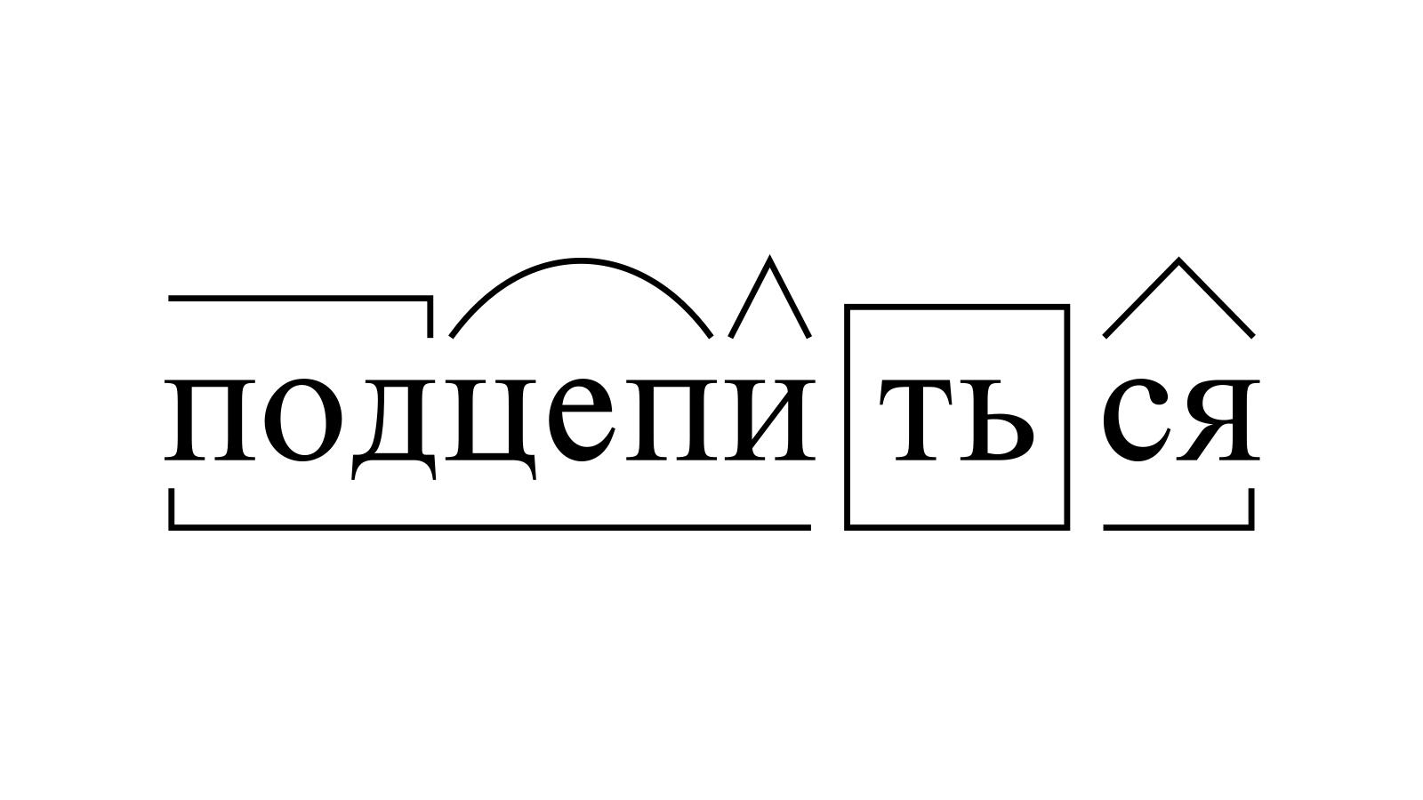 Разбор слова «подцепиться» по составу
