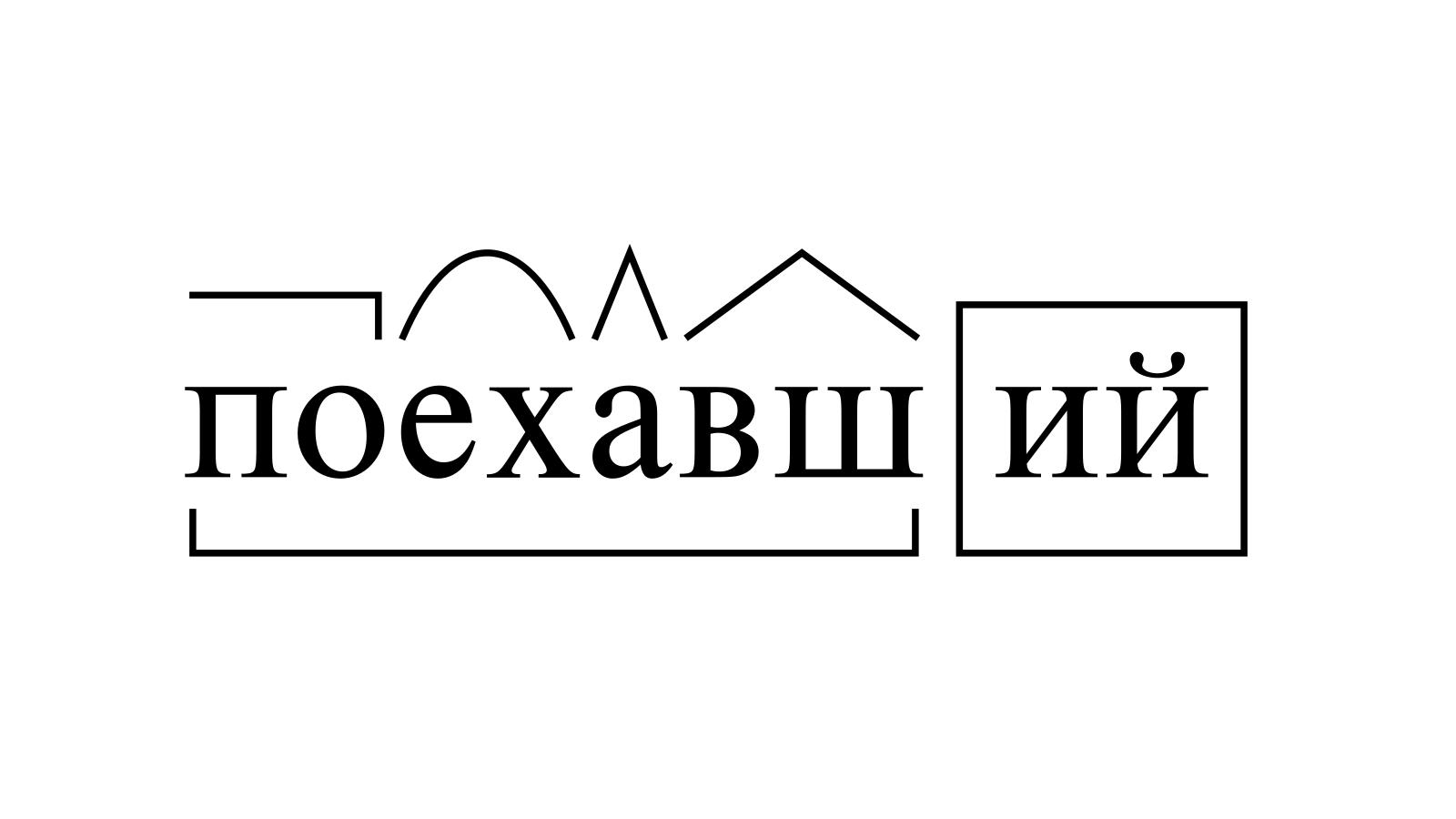 Разбор слова «поехавший» по составу