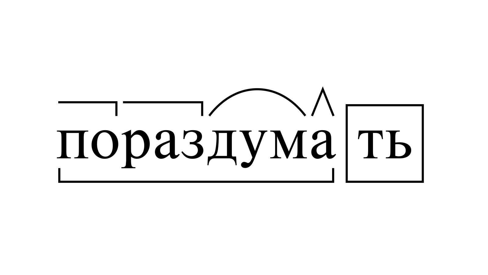 Разбор слова «пораздумать» по составу