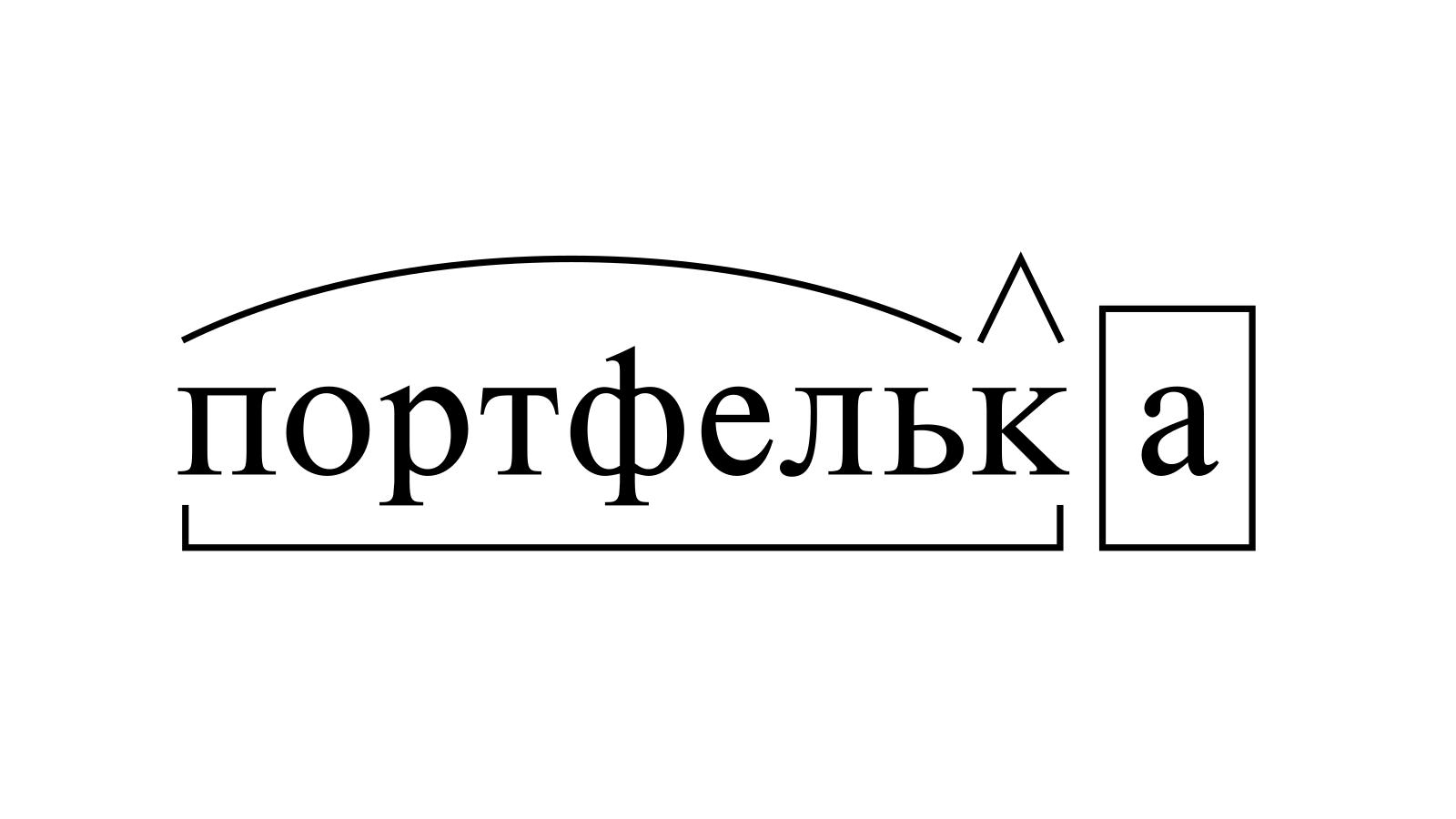 Разбор слова «портфелька» по составу