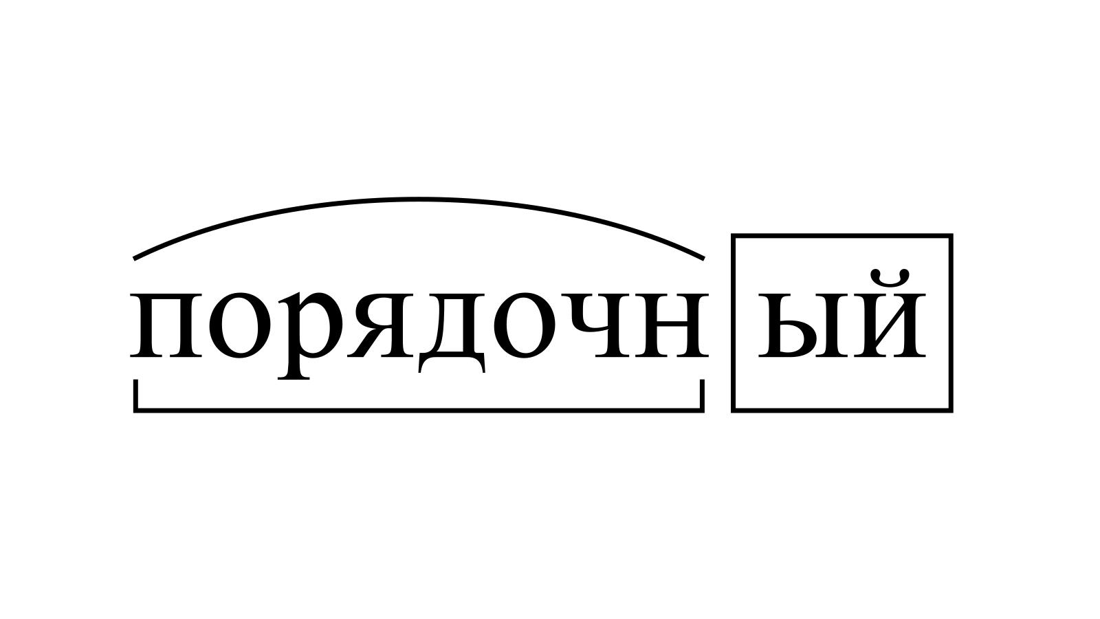 Разбор слова «порядочный» по составу
