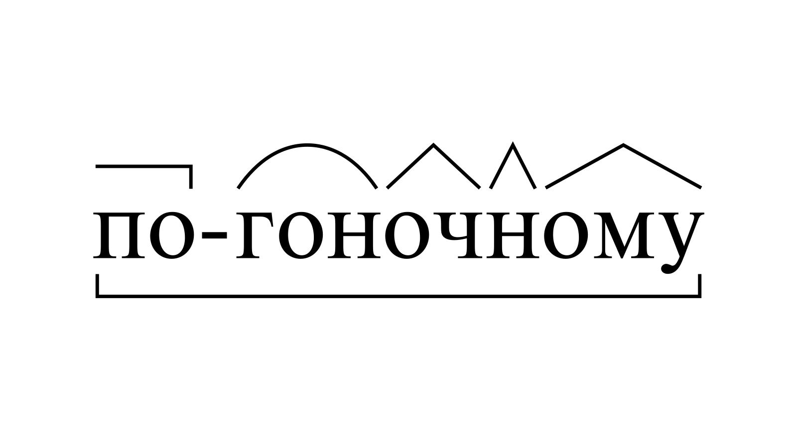 Разбор слова «по-гоночному» по составу