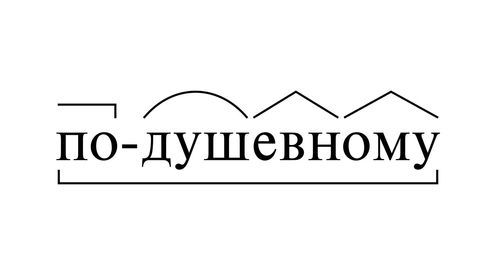 Разбор слова «по-душевному» по составу